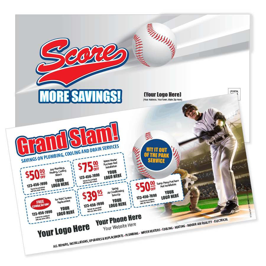 Grand Slam Direct Mail Multi Coupon Postcard