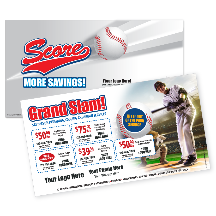 Grand Slam Direct Mail Multi Coupon Postcard